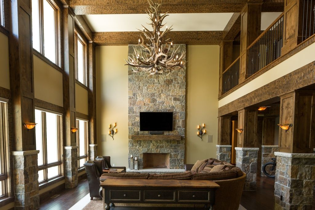 Rustic Living Room With Cathedral Ceiling By Schill Architecture