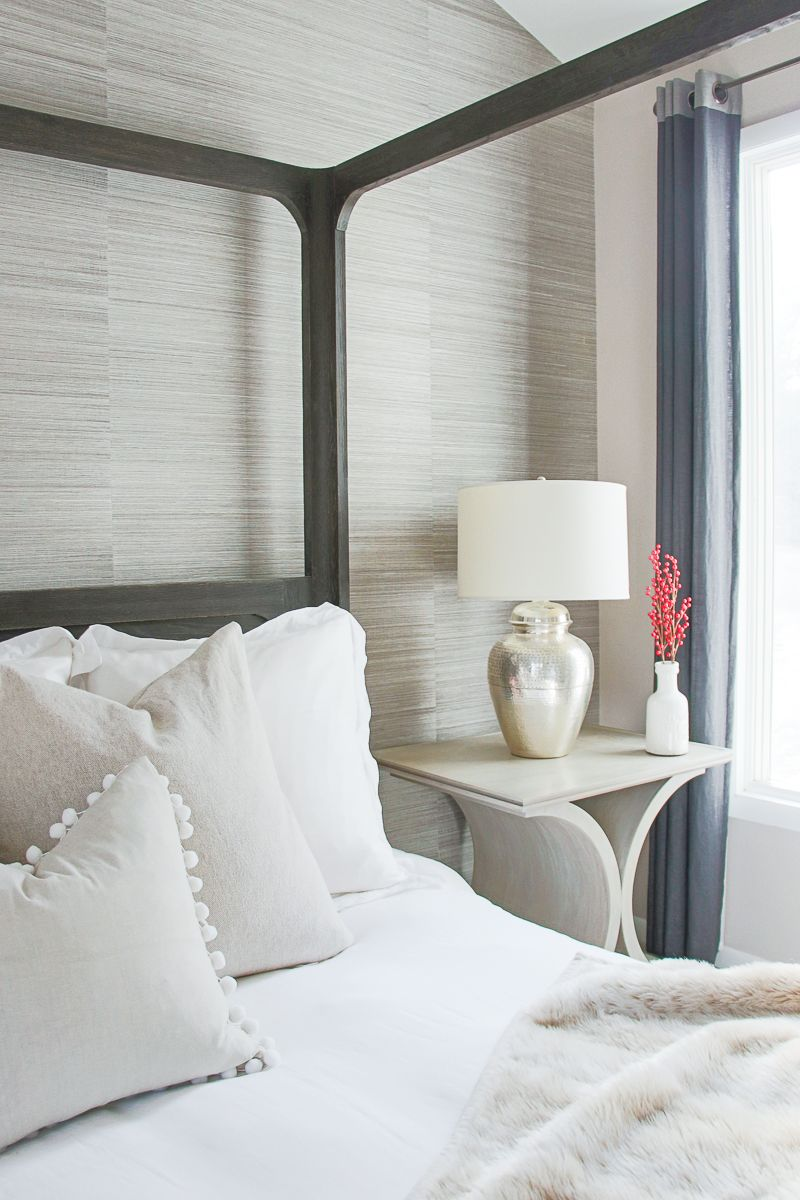 Neutral Bedroom Décor   Wood Canopy Bed   Metallic Lamp ...