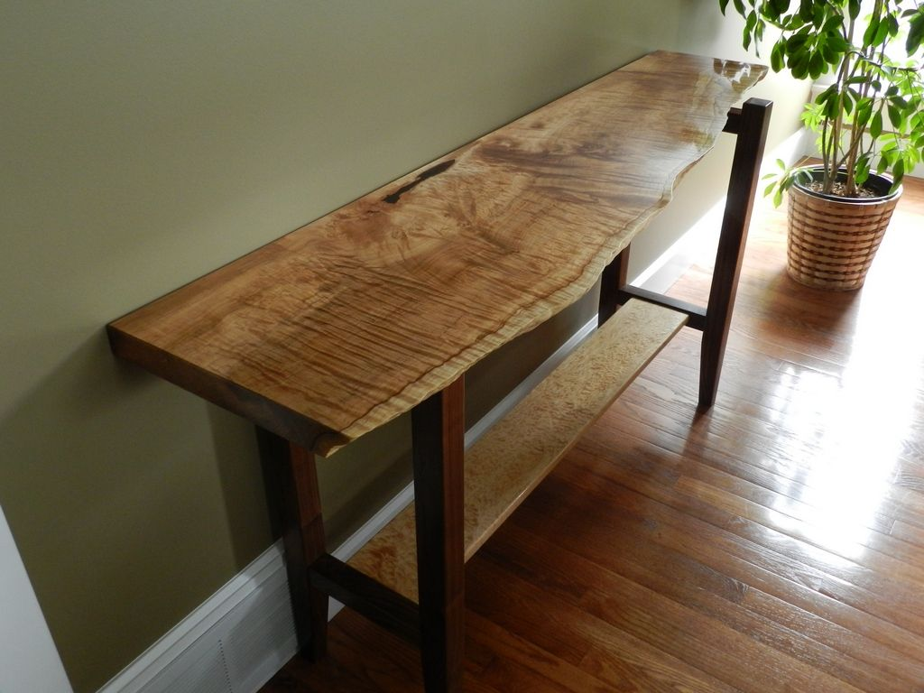 Live Edge Foyer Table : Figured maple and walnut natural live edge hall table by