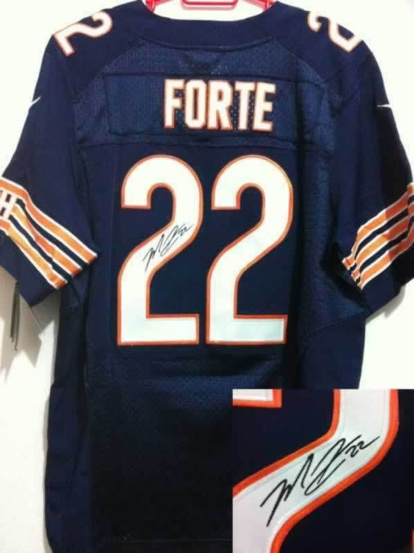 outlet store 365d4 e87df Men's Nike Nfl Chicago Bears #22 Matt Forte Blue Signed ...
