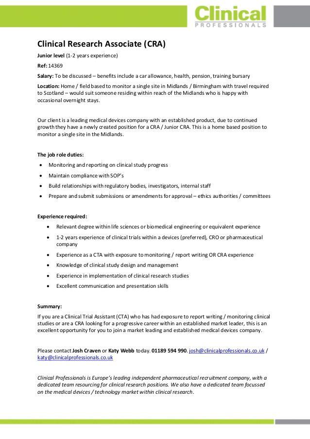 Clinical Research Associate - UK  J14369 | cra | Clinical