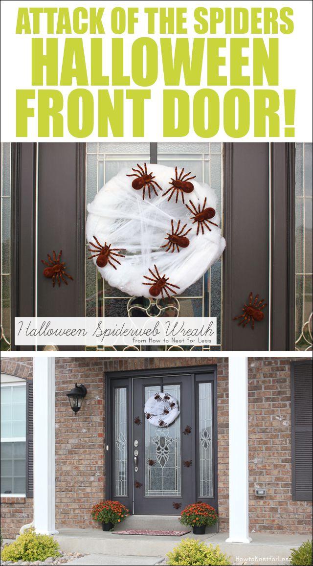 Halloween Spiderweb Wreath Front doors, Spider and Wreaths - decorating front door for halloween