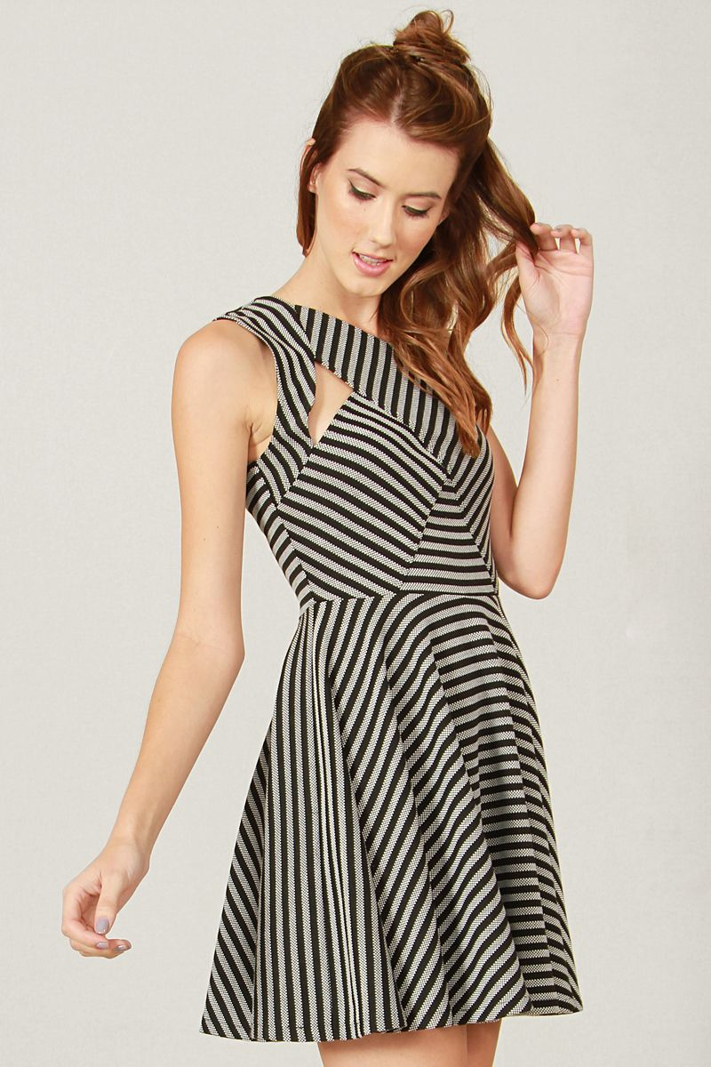 X-Front Striped Skater Dress — Katya's Collection