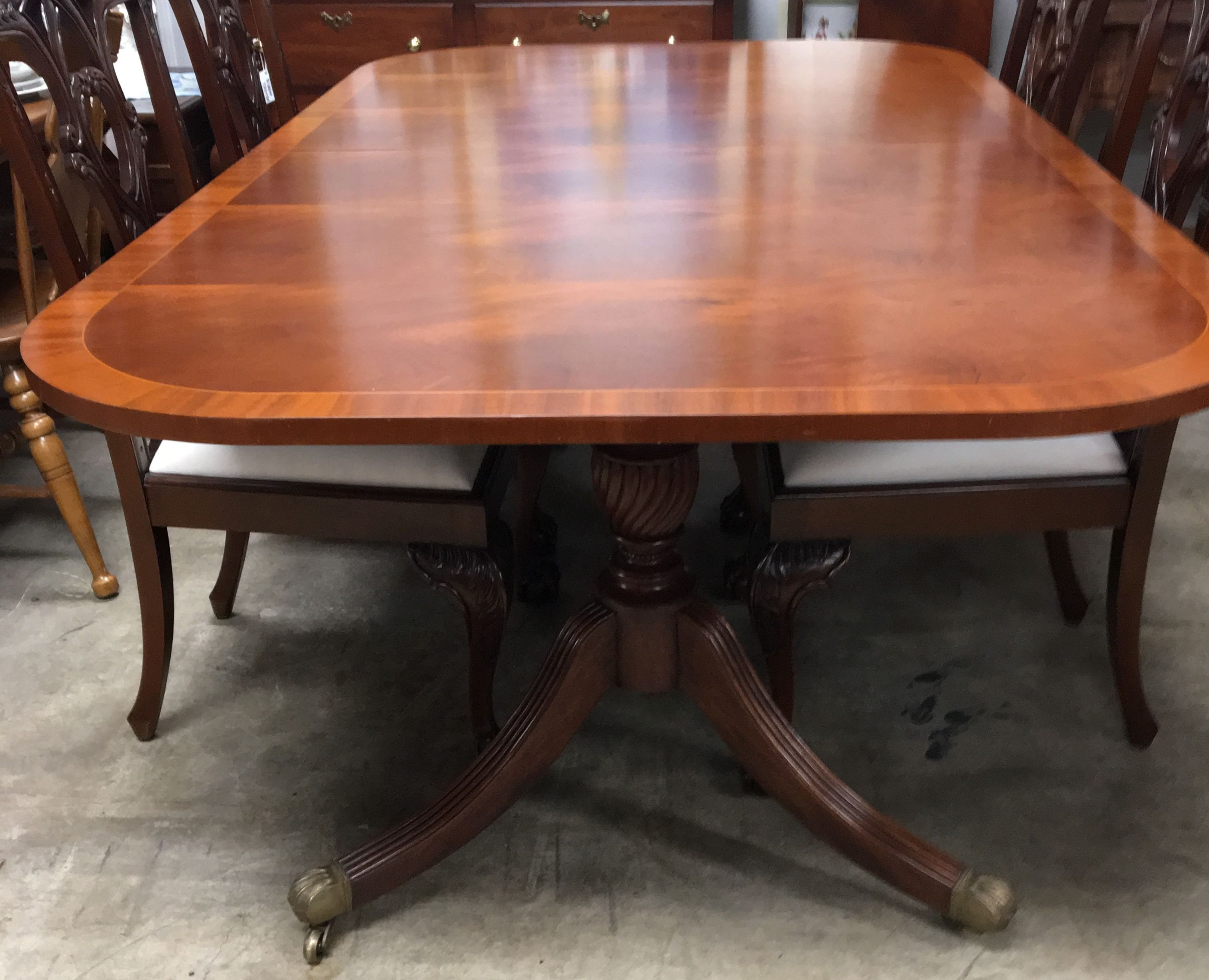 Baker double pedestal banded mahogany dining table ...