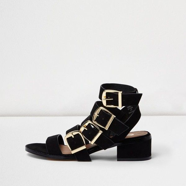 a78c85df729 River Island Black multi buckle strap sandal ( 64) ❤ liked on Polyvore  featuring shoes