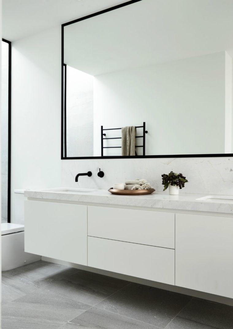 Exemple De Grand Miroir Salle De Bain Marbre Cadre Noir Plan