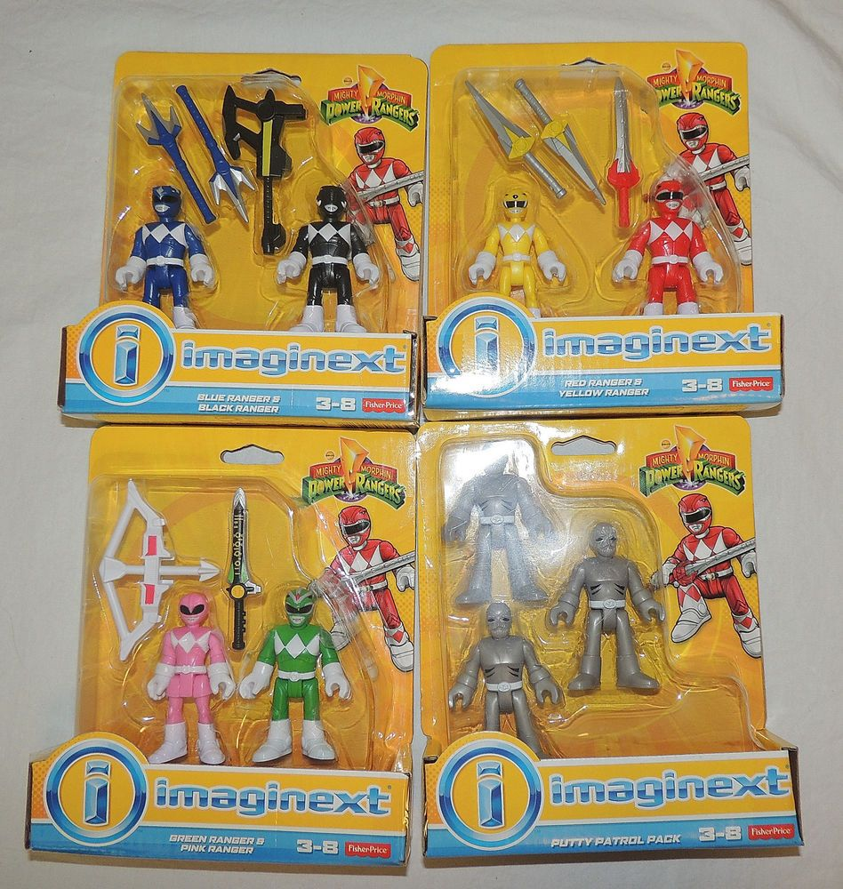 new imaginext power rangers pink green red yellow blue black putty