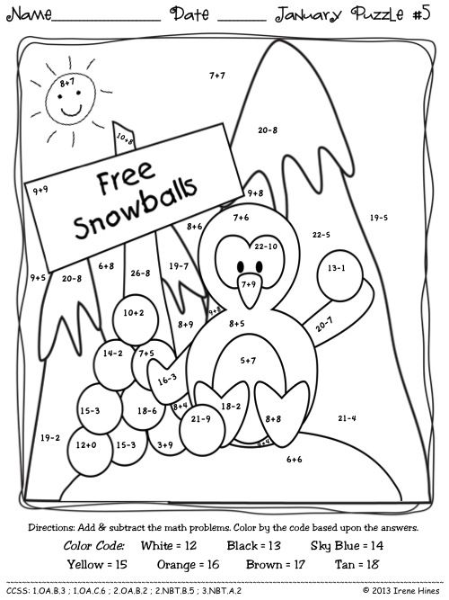 winter wonder math january math printables color by the code puzzles kids colouring pages. Black Bedroom Furniture Sets. Home Design Ideas