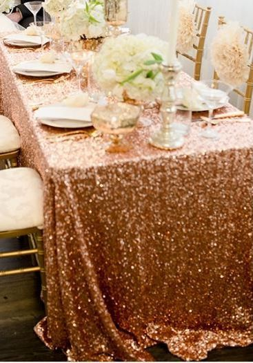 5 Ways To Bring Your Rose Gold Wedding To Life Sequin Tablecloth Rose Wedding Rose Gold Table