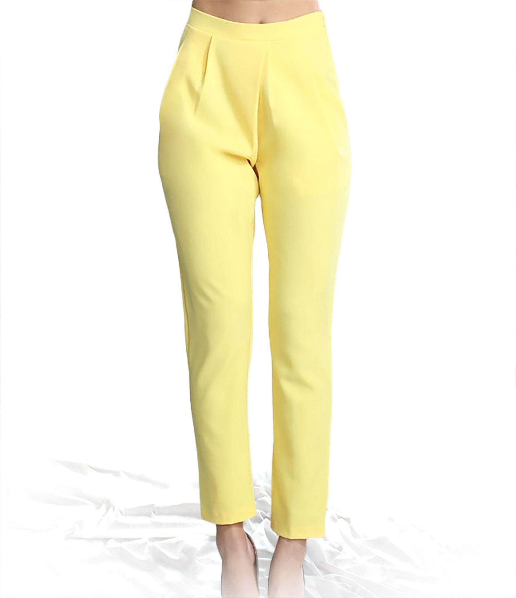 Modern vintage yellow Cigarette Pants from Theadora Vintage. Shop theadoravintage.com