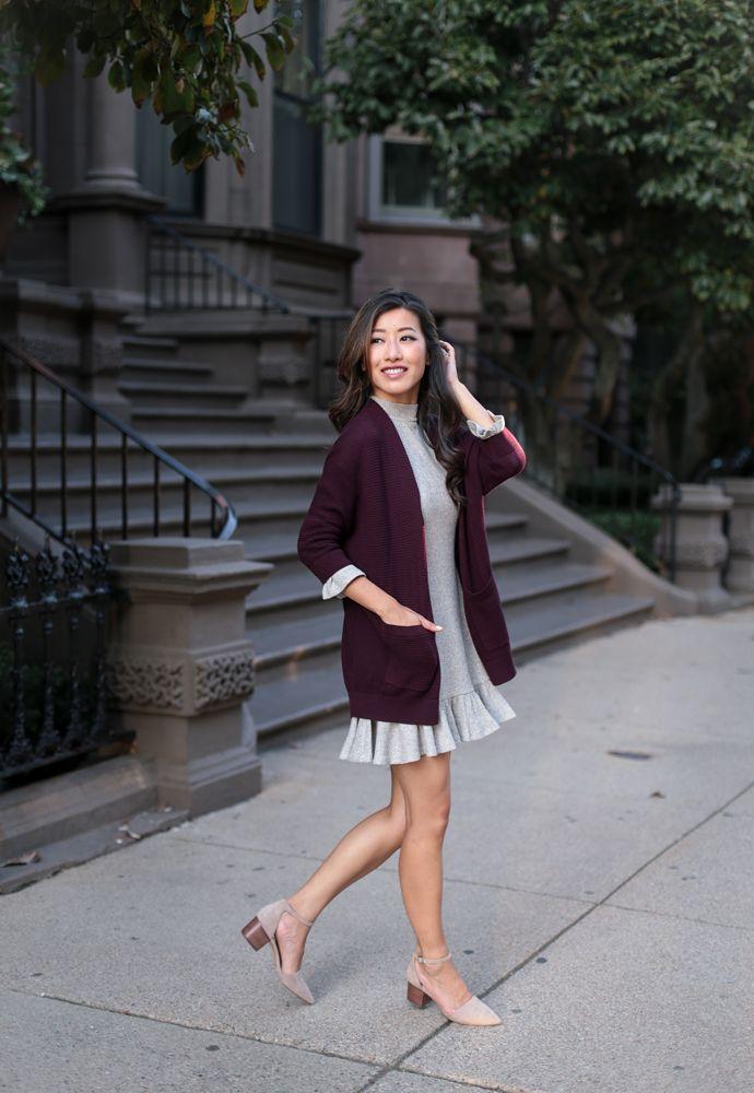 4997a91dd58 Express Petites - Cocoon cardigan sweater + swing dress | Lookbook ...
