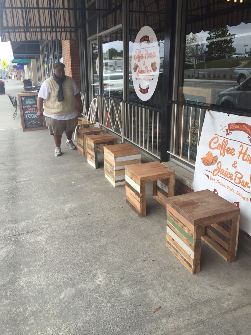 Stools in front of the Ninth Street coffeehouse. (With