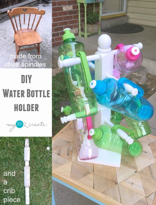 Make a DIY Water Bottle Holder and stop the problem of cups over taking your counters, great for big families!  Tutorial at MyLove2Create.