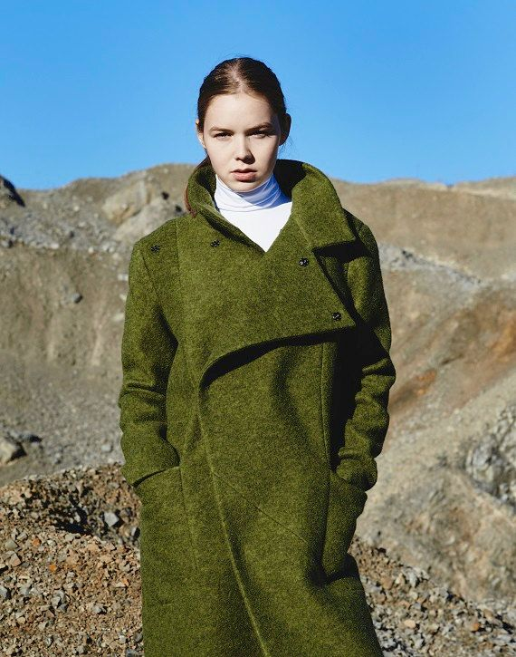 c245aa6d71d9d Wool Coat, Women Winter Coat, Green Wool Coat, Maxi Coat, Trendy ...
