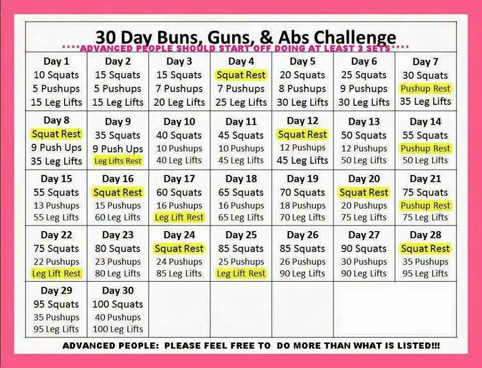 Buns and guns Month workout challenge, 30 day ab