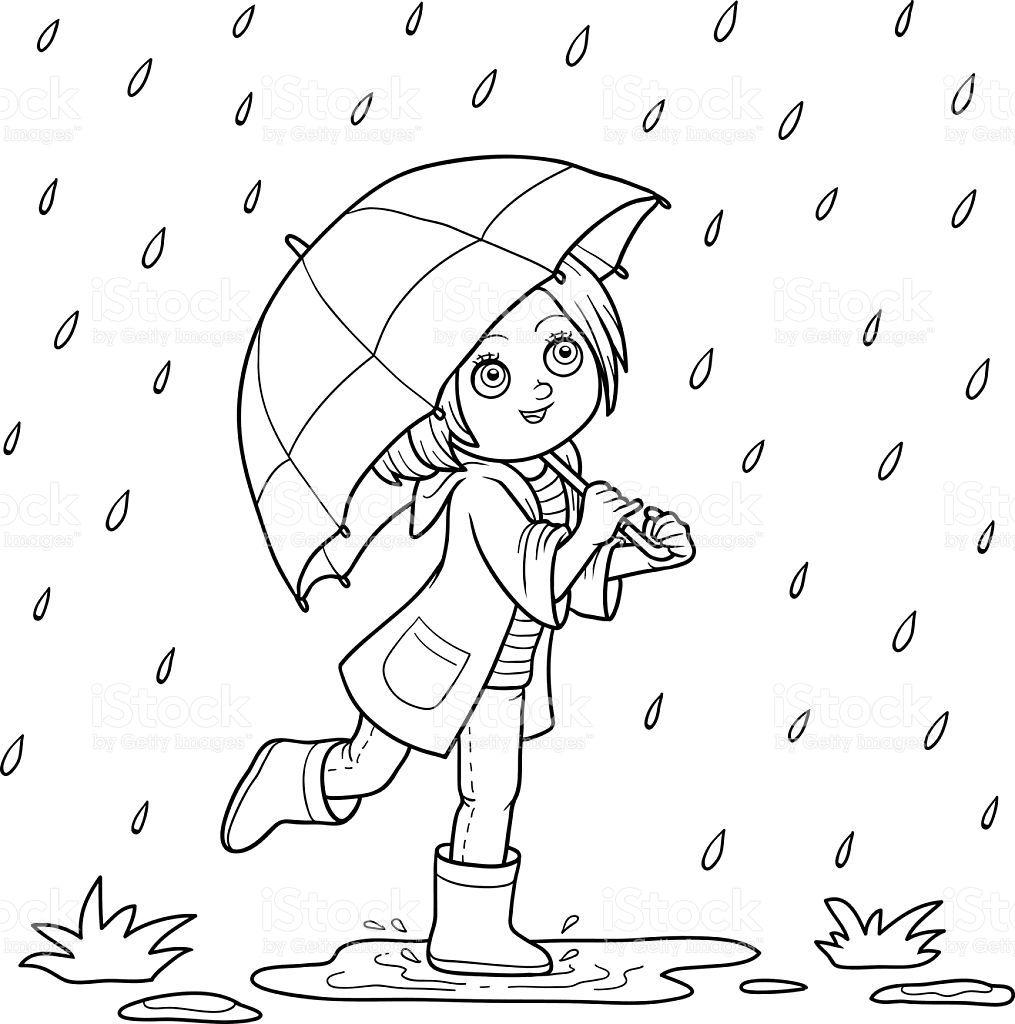 Livre de coloriage fille courir avec un parapluie sous la - Parapluie dessin ...