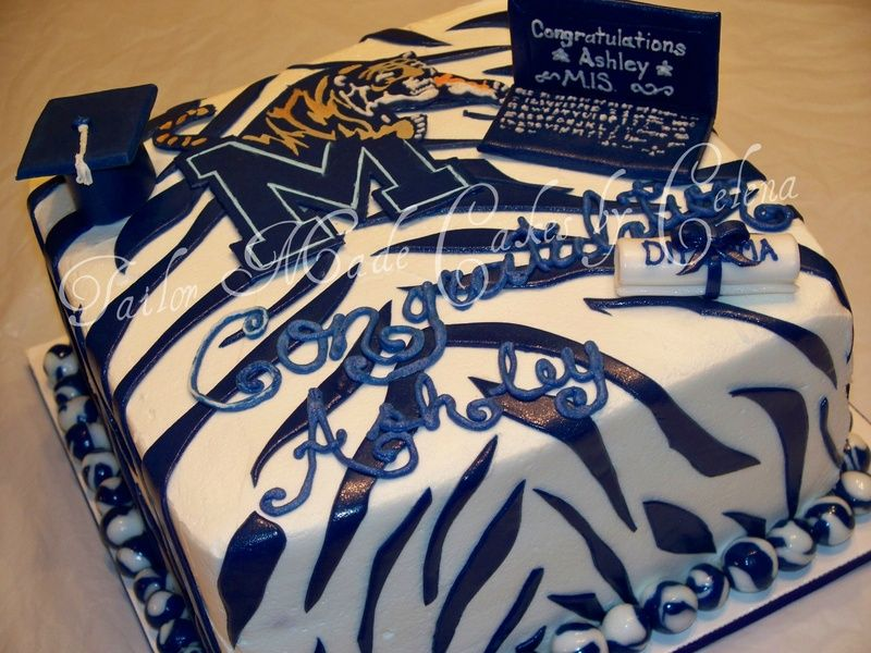 Fine University Of Memphis Graduation Themed Cake With Images Cake Funny Birthday Cards Online Overcheapnameinfo