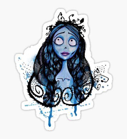 Watercolor corpse bride sticker