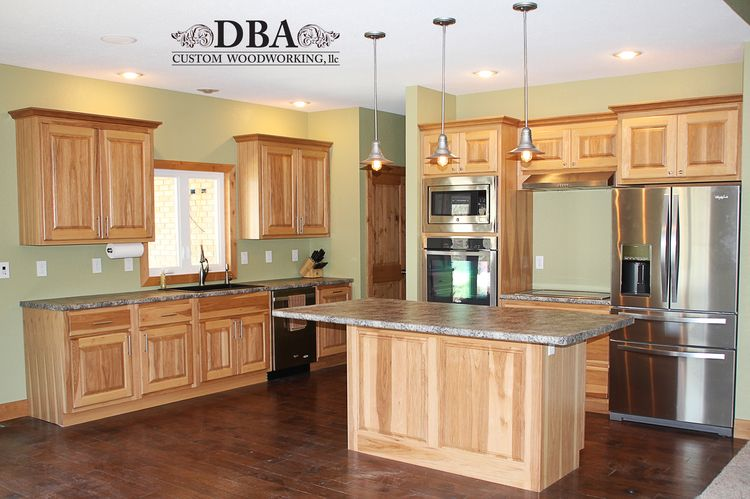 Custom Built Hickory Kitchen Cabinets © DBA Custom Woodworking