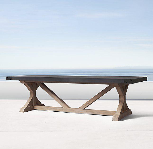 Belgian Trestle Concrete Teak Rectangular Dining Table Coffee Table Restoration Hardware Concrete Coffee Table Coffee Table Restoration