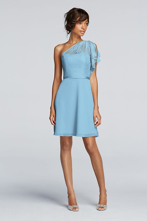 This short one-shoulder bridesmaid dress is half Chantilly lace ...