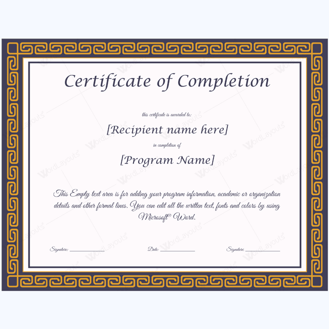 Templates Certificate Of Completion Templates Certificate Of