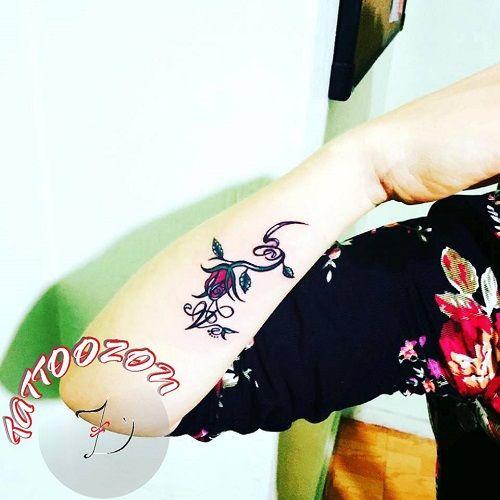 Tattoozon  Trabzon D&246vme Arm Wrist Rose Bud Letter A G Tattoo Kol