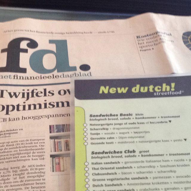 Tijd voor lunch en #FD bij #NewDutch in Nijmegen, altijd goed! Daarna door naar klant