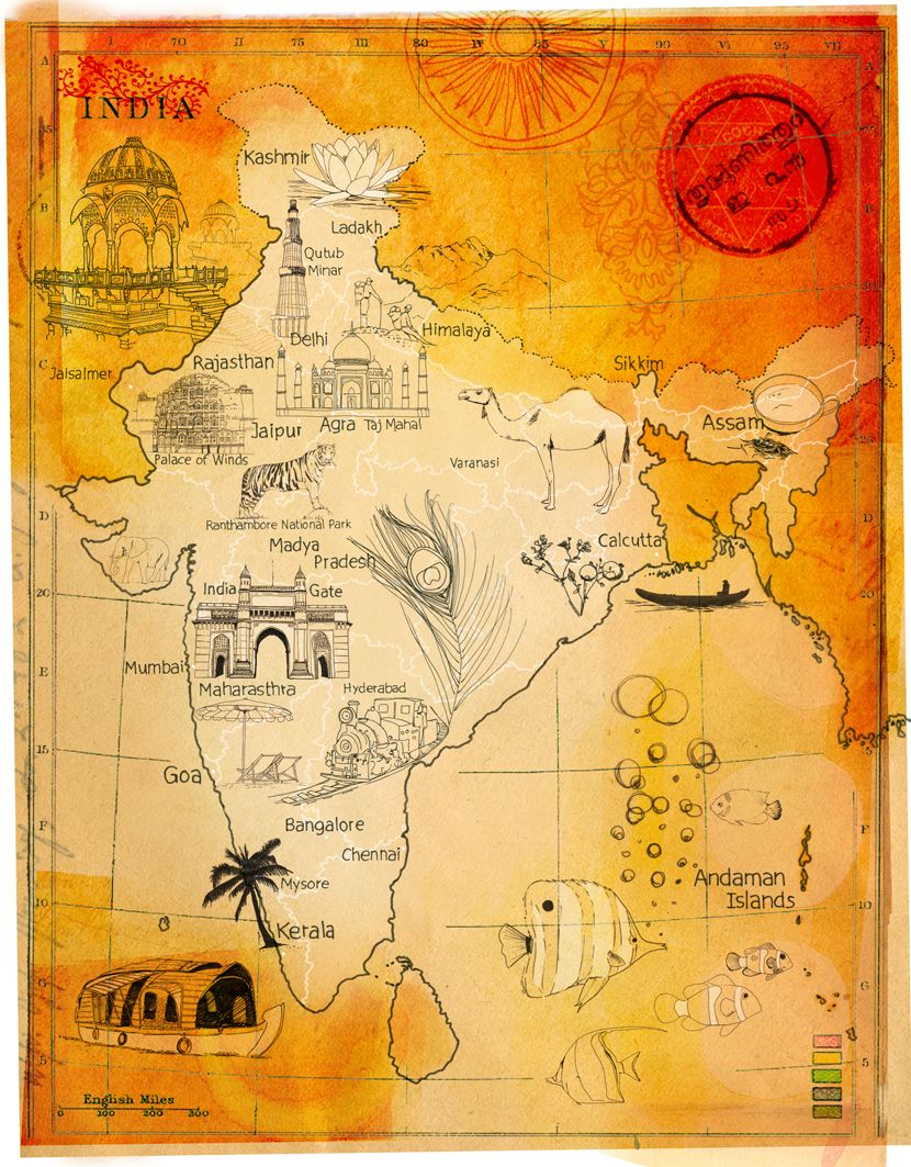 india map /zellmer India map, Illustrated map, Map art