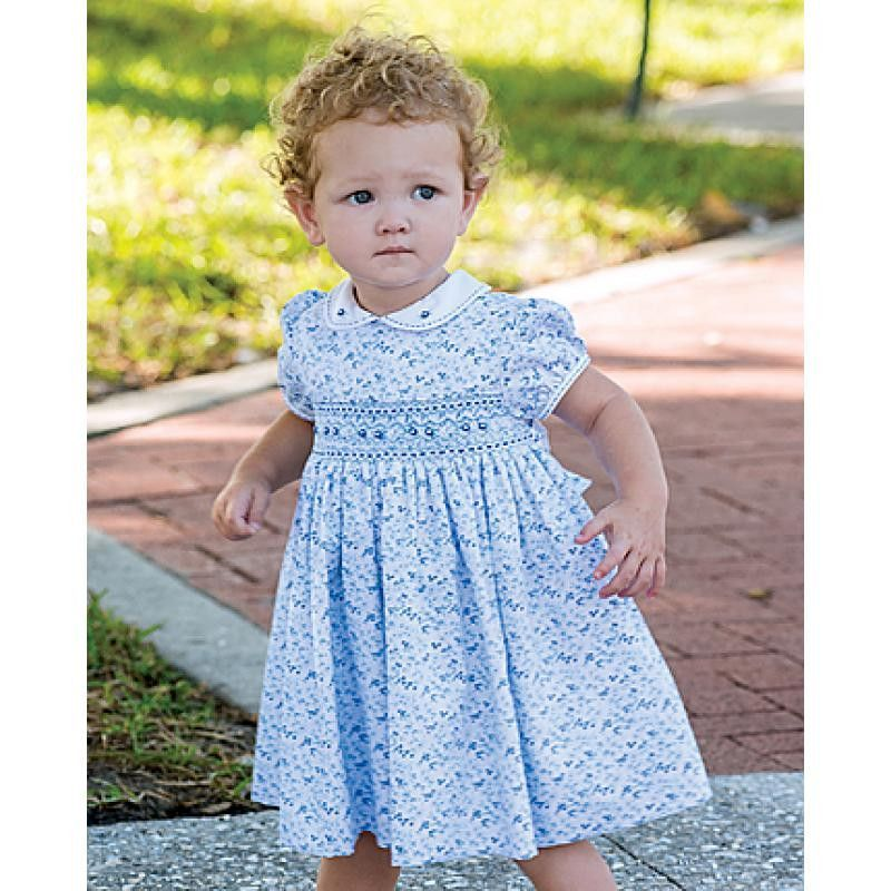 aa4b8cbbf2a9a Sarah Louise Girls White Blue Floral Print Classic Smocked Dress 12 18 24  Months Boutique