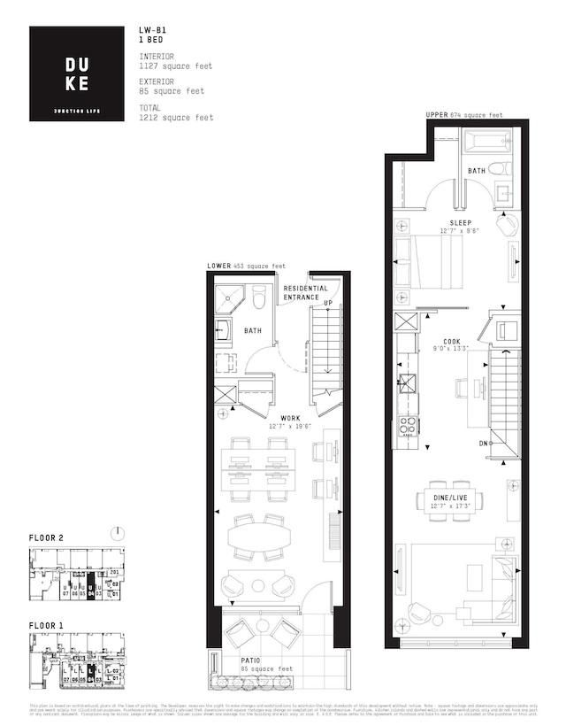 Floor plan of one of the Live-Work units at DUKE Condos, image - work plan
