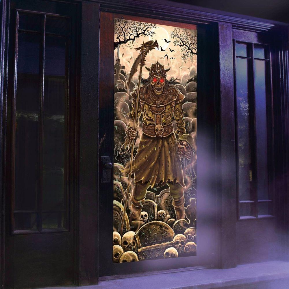 Skeleton Warrior Lights And Sounds Door Panel Halloween