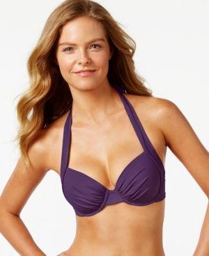 fcedb2eaa49f9 Tommy Bahama Bra-Sized Underwire Halter Bikini Top - Purple 36DD ...