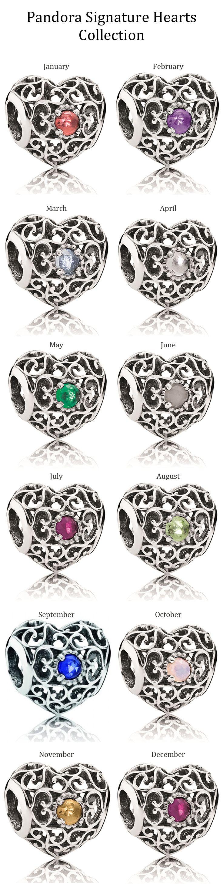 Pandora Signature Hearts Collection set with birthstones · Pandora Bracelet  CharmsPandora