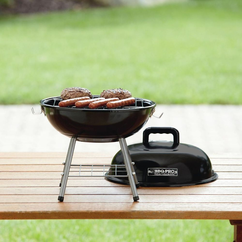 Portable Charcoal Grill Small Bbq Outdoor Patio Mini Barbecue Black Steel 14 In Barbecuepro