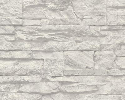 Vinyl Tapete As Création Woodu0027n Stone grau weiß 707116 Stone - tapete grau beige