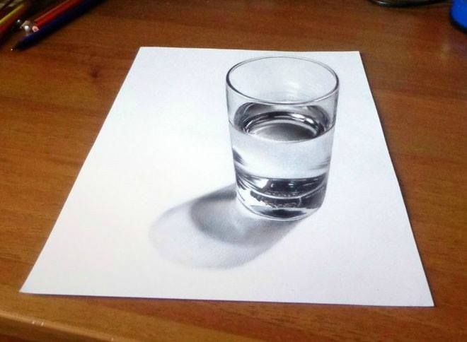 Vaso De Agua Seco Dibujos A Lapiz Como Dibujar En 3d