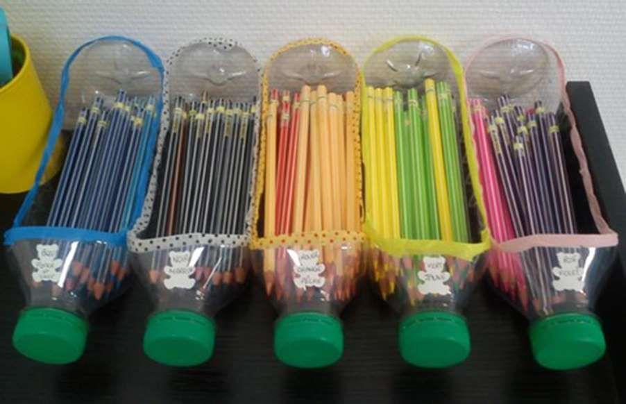 French Teacher And Blogger Isabelle Came Up With A Great Recycling Idea For Storing Lots Of Coloring T Artesanato De Garrafa Ideias Para Artesanato Ideias