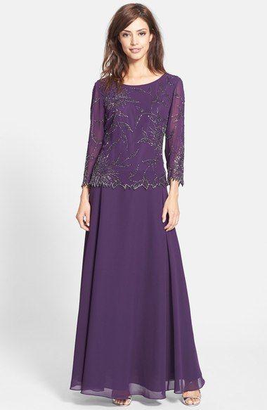J Kara Beaded Chiffon A-Line Gown