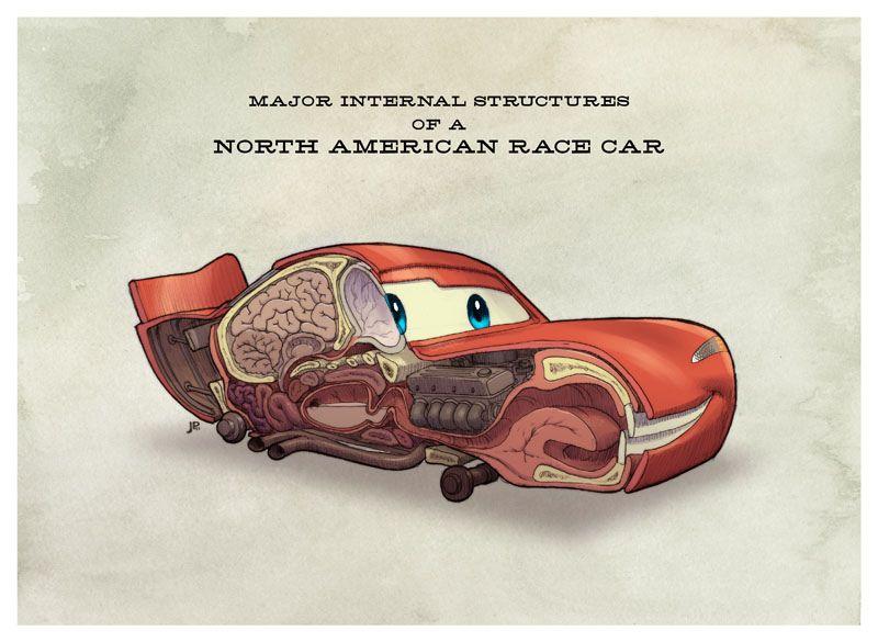 Pixar S Cars Anatomy Lightning Mcqueen By Jake Parker