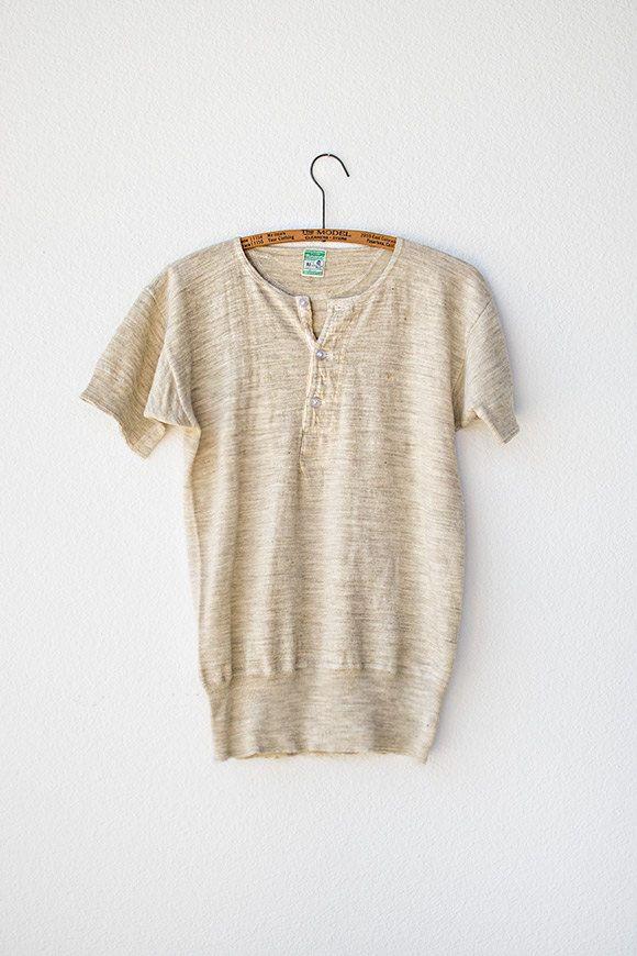 Vintage Cream Short Sleeve Wool Shirt Vintage Mens Shirt