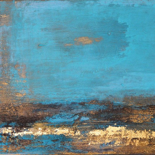 Original artwork contemporary abstract painting in blue gold Golden Chasm