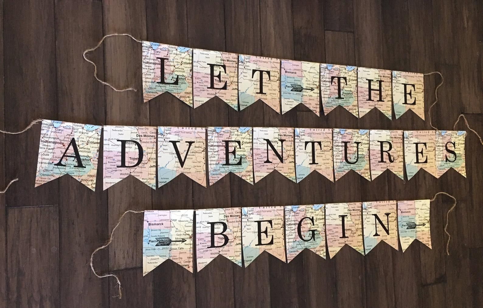 Travel theme Baby Shower Baby shower map cards banner PRINTABLE Banner Adventure Awaits Banner Going Away Party,