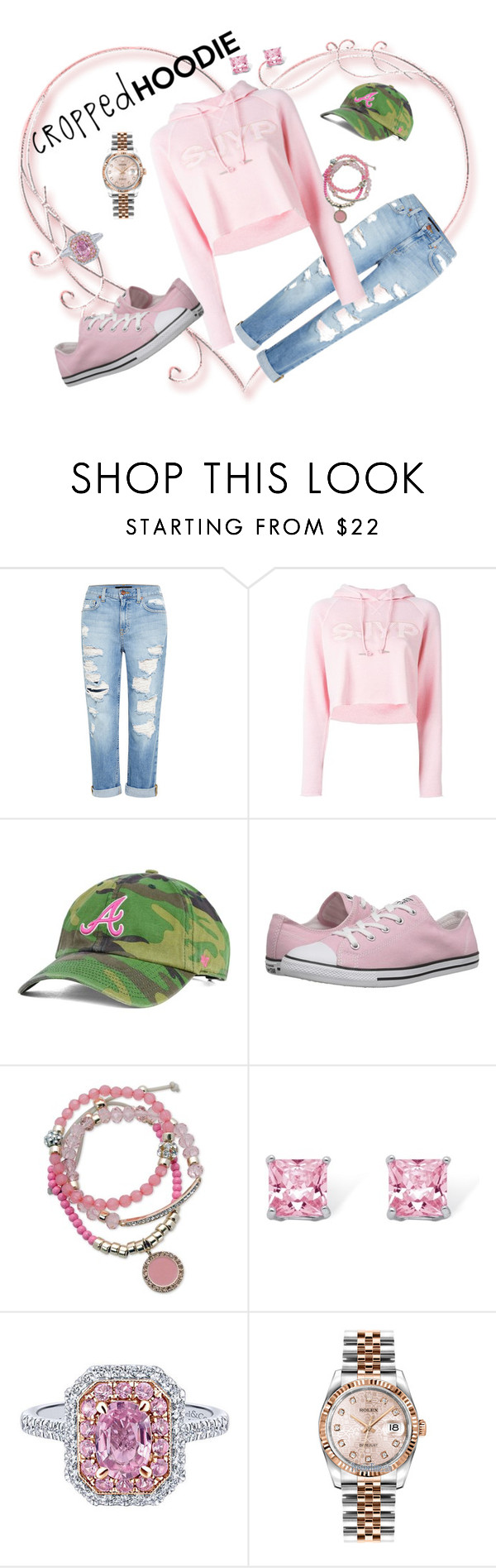 """""""Cropped Pink Hoodie!"""" by jenniferw07 on Polyvore featuring Genetic Denim, Steve J & Yoni P, '47 Brand, Converse, GUESS, Palm Beach Jewelry and Rolex"""