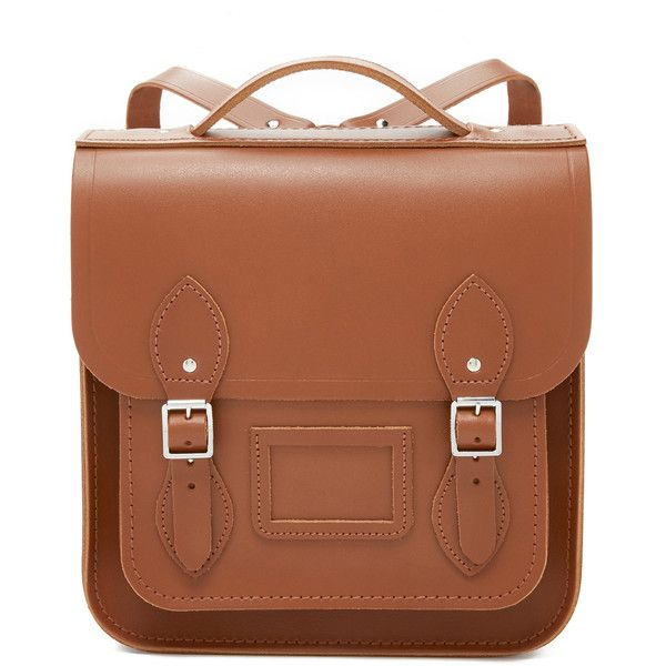 Cambridge Satchel Small Portrait Backpack ($215) ❤ liked on Polyvore featuring bags, backpacks, purses, vintage, buckle backpack, real leather backpack, vintage backpack, vintage leather backpack and leather daypack