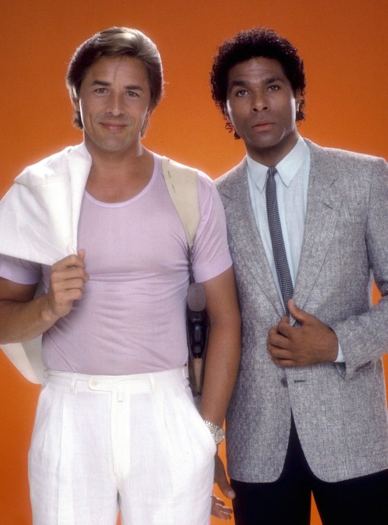 Detectives James  Sonny  Crockett and Ricardo Tubbs in a promotional image  for Miami Vice. d23cb0f816c