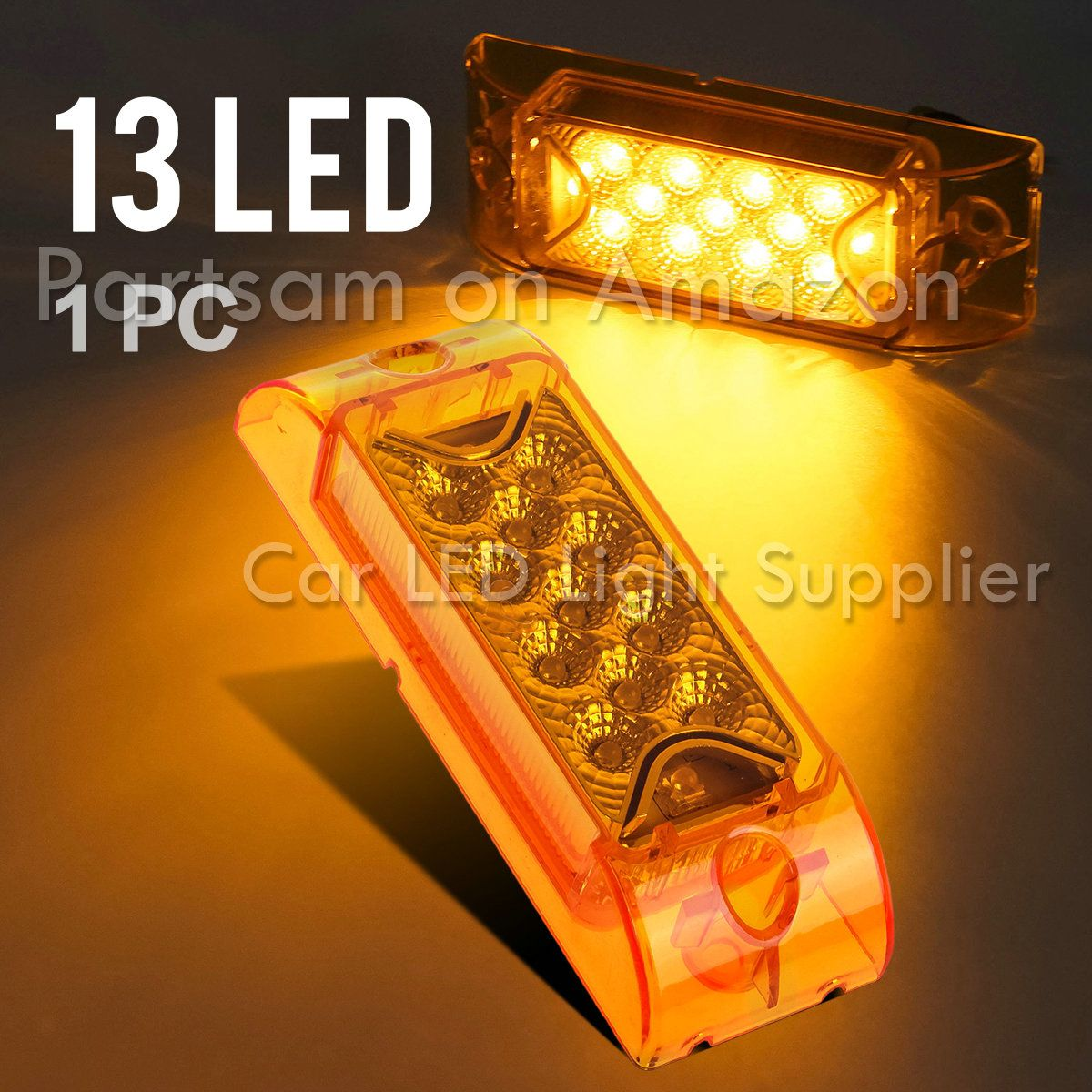 Partsam 2pcs Amber Led Rectangle Tail Stop Marker Light Trailer Wiring Clearance Lights Truck Rv 3 Wires 21led 6