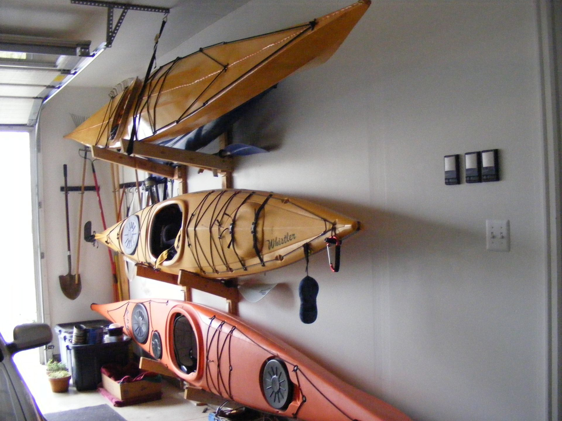 garage full storage size homemade hoist for the make build together diy also rack of a kayak with to