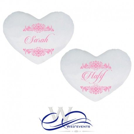 Vous recherchez une idée de cadeau original et personnalisé pour un mariage, alors ne cherchez plus les coussins personnalisés coeur avec prénoms au choix est le cadeau idéal pour un cadeau de mariage qui fera plaisir à coup sur par son originalité. #mariage #cadeau #love #amour #déco
