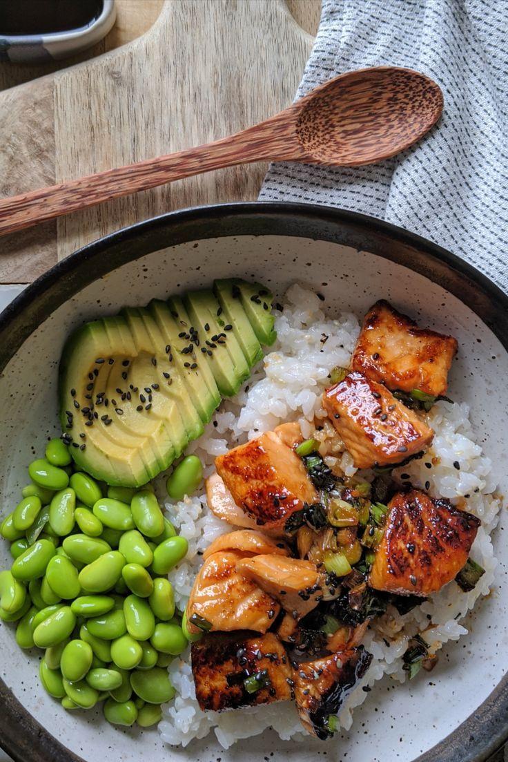 Gluten Free Teriyaki Salmon Sushi Bowl Recipe - My Gluten Free Guide #teriyakisalmon #sushibowl